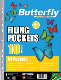 Butterfly Filing Pockets A4 10's