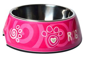 Rogz - 2-in-1 Bubble Dog Bowl - Extra-Large - Pink Paw Design - 1400ml