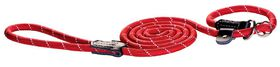 Rogz - Rope Large 1.2cm 1.8m Long Moxon Dog Rope Lead - Red Reflective