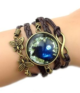 Urban Charm Moroccan Nights Cabochon Infinity Bracelet - Dark Chocolate Brown