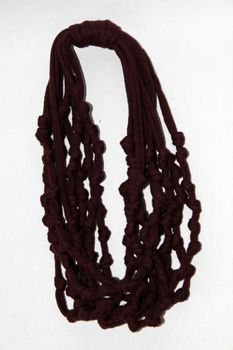 Vine Accessories Knotted Necklace with Matching Earrings – Maroon with Khaki Earrings.