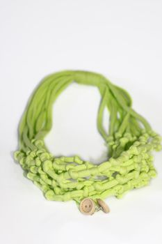 Vine Accessories Knotted Necklace with Matching Earrings - Lime & Cream
