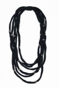 Vine Accessories Beaded Necklace - Navy with  Small Silver Beads