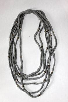 Vine Accessories Beaded Necklace - Grey with Silver Beads