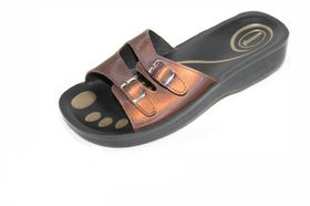 Comfort Couture K0905 Double Buckle Sandal - Brown