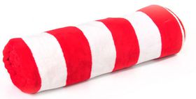 Terry Lustre - Beach Towel Velour 450gsm - White & Red Stripe