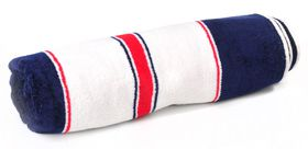 Terry Lustre - Beach Towel Velour 450Gsm - White Red & Blue Stripe