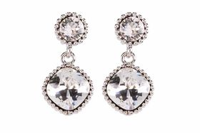 Civetta Spark Cushion-Cut Earring - Made with Clear Swarovski Crystal