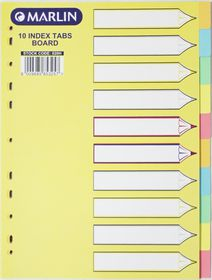 Marlin File 10 Unprinted Index Dividers 160gsm Pastel Colours