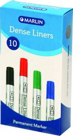 Marlin Dense Liners Bullet Point Permanent Markers - Black (Box of 10)