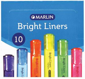Marlin Bright Liners Highlighters - Yellow (Box of 10)