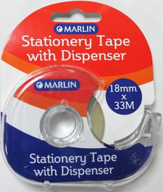 Marlin Stationery Tape with Dispenser (18mm x 33m)