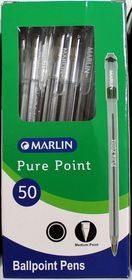Marlin Pure Point Medium Transparent Ballpoint Pens - Black Ink (Box of 50)