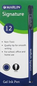 Marlin Signature 0.5mm Gel Ink Pens - Blue Ink (Box of 12)