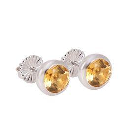 Coeval Sterling Silver Tube Set Round Citrine Stud Earrings