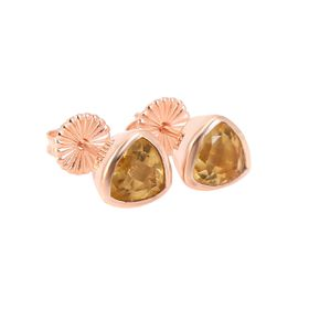 Coeval Sterling Silver Rose Gold Vermeil Trillion Citrine Stud Earrings