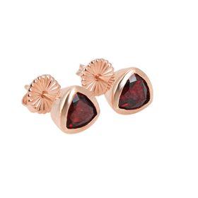 Coeval Sterling Silver Rose Gold Vermeil Trillion Garnet Stud Earrings