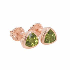 Coeval Sterling Silver Rose Gold Vermeil Trillion Peridot Stud Earrings