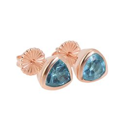 Coeval Sterling Silver Rose Gold Vermeil Trillion Swiss Blue Topaz Stud Earrings