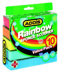 Addis - Rainbow Sponge Scourer - 10 Piece