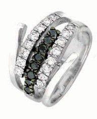 Miss Jewels- 0.12ctw Clear and Black Cubic Zirconia Dress Ring in 925 Sterling Silver