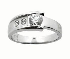 Miss Jewels- Cubic Zirconia Wedding Band with Satin Finish in 925 Sterling Silver
