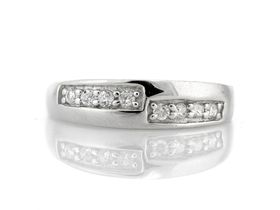 Miss Jewels- 0.12ctw Cubic Zirconia Wedding Band in 925 Sterling Silver