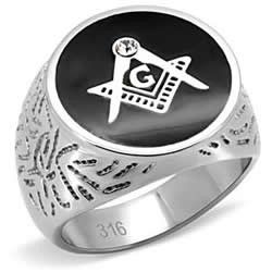 Free Mason Patterened Stainless Steel Ring