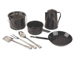 Coleman - 8 Piece Enamel Cookware Set - Black Speckle