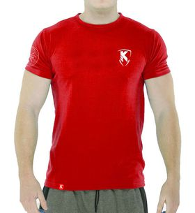 Performance Muscle Fit Printed T-Shirt - Hot Red & White