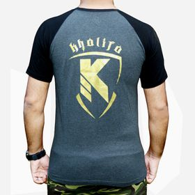 Performance Muscle Fit Printed T-Shirt - Charcoal Black & Gold