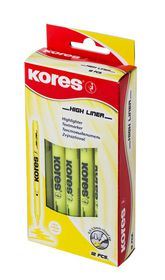 Kores High Liner Fine Chisel Tip Highlighters - Yellow (Box of 12)