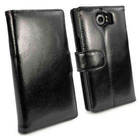 Tuff-Luv Vintage Genuine Leather Wallet Case Cover For Blackberry Priv - Black