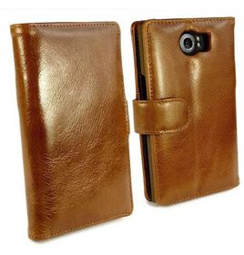 Tuff-Luv Vintage Genuine Leather Wallet Case Cover For Blackberry Priv - Brown