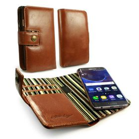 Tuff-Luv Alston Craig Genuine Leather Magnetic Wallet Case and Cover for the Samsung Galaxy S7 Edge - Brown