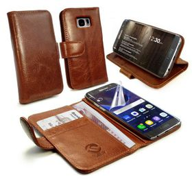 Tuff-Luv Alston Craig Genuine Leather Wallet Case and Cover for the Samsung Galaxy S7 Edge - Brown