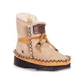 Gurmuki Sheep's Wool Leather Boots - Beige