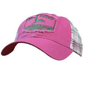 John Deere Ladies  Cap - Fuchsia & Check (One Size)