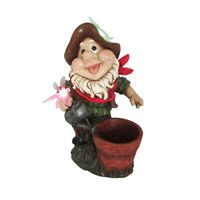 Solar Garden Gnome with Flower Pot