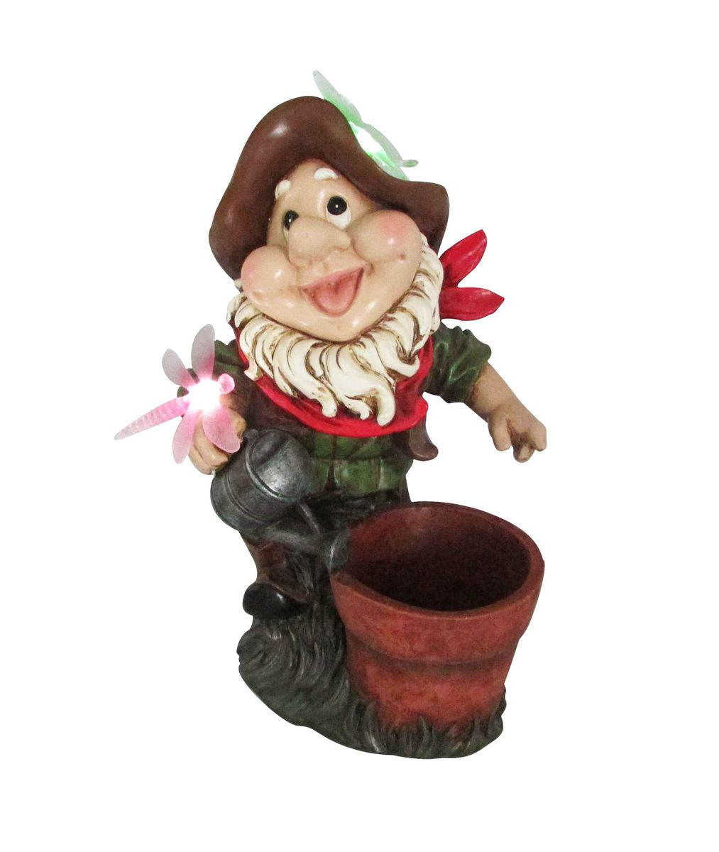 Solar Garden Gnome With Flower Pot. Loading Zoom
