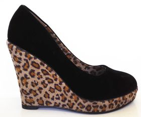Roayena Fashion Leopard Print Wedge FZ05-10 - Black