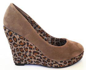 Roayena Fashion Leopard Print Wedge - Khaki