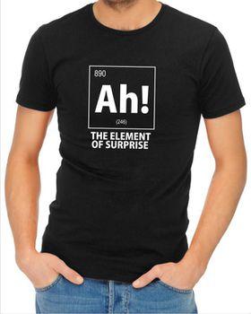 JuiceBubble Ah! The Element of Surprise Men's Black T-Shirt