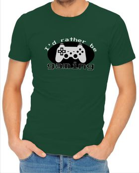 JuiceBubble I'd Rather Be Gaming Men's Bottle Green T-Shirt