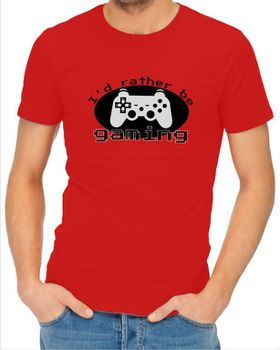 JuiceBubble I'd Rather Be Gaming Men's Red T-Shirt