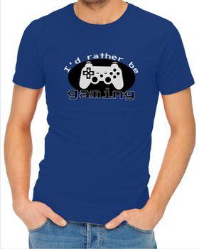 JuiceBubble I'd Rather Be Gaming Men's Royal Blue T-Shirt