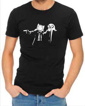 JuiceBubble Pulp Fiction Adventure Time Men's Black T-Shirt