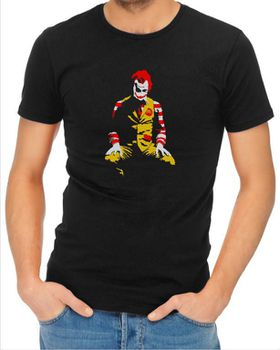 JuiceBubble Ronald McDonald Joker Men's Black T-Shirt (Size: 2X-Large)