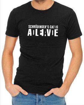 JuiceBubble Shrodingers Cat Men's Black T-Shirt
