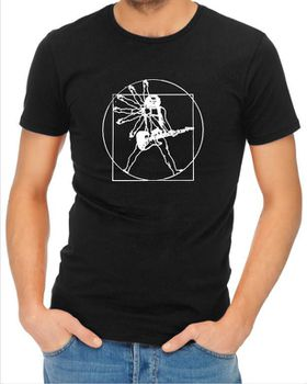 JuiceBubble Vitruvian Guitar Man Men's Black T-Shirt